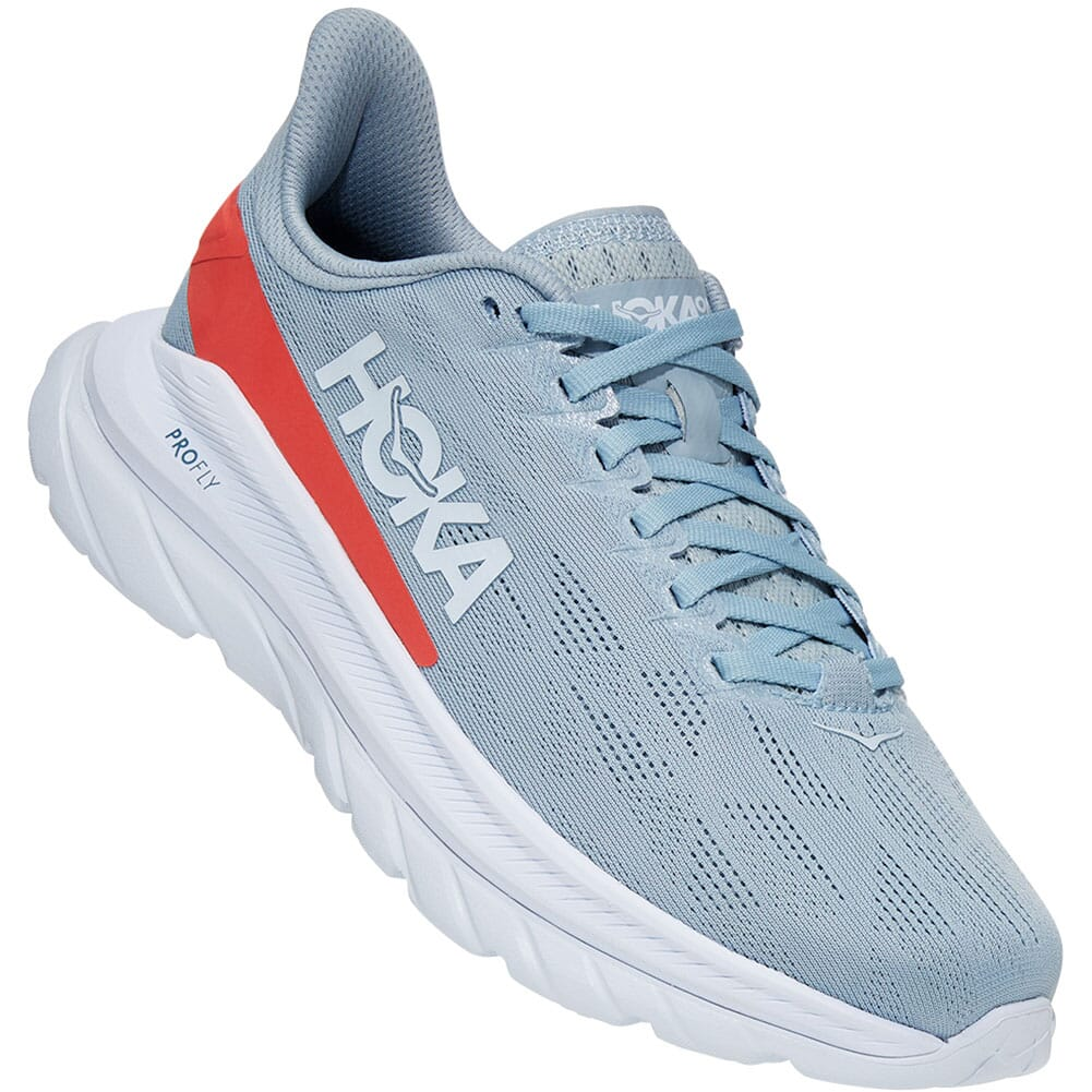 Image for Hoka One One Women's Mach 4 Running Shoes - Blue Fog/Hot Coral from elliottsboots