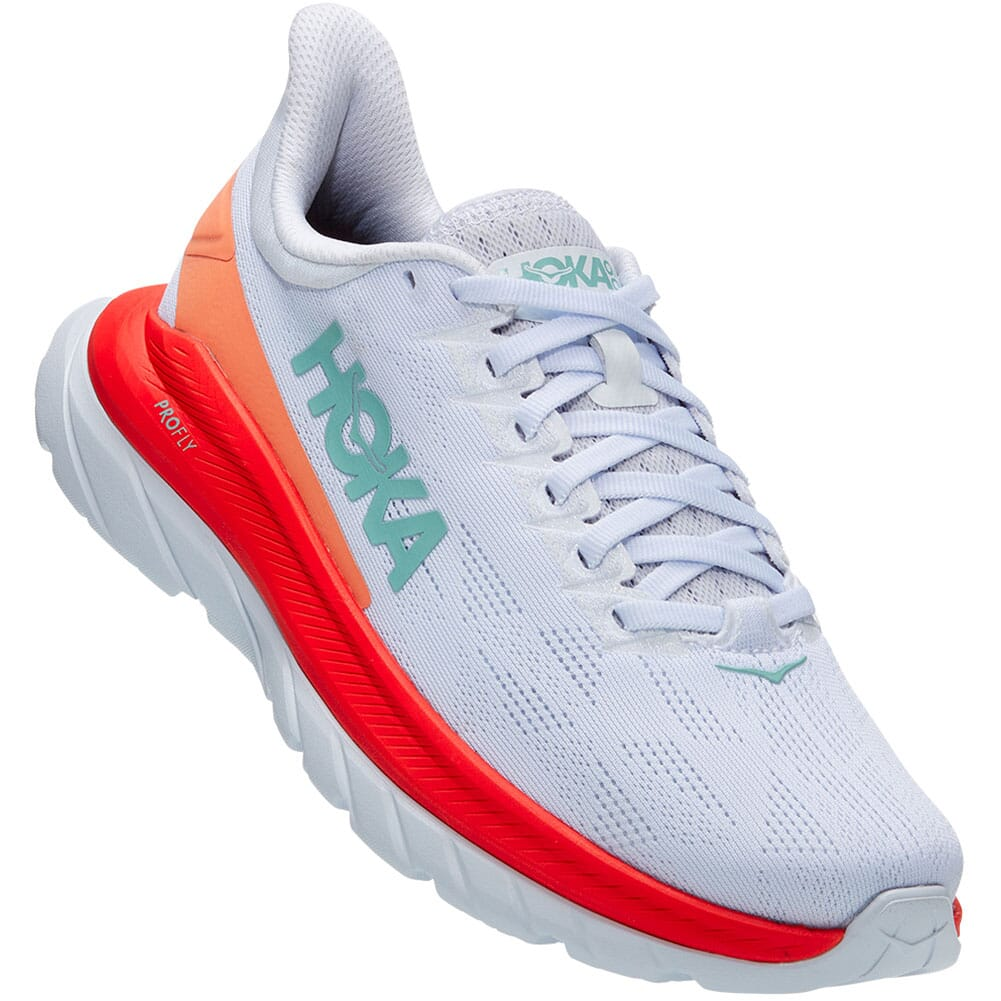 Image for Hoka One One Women's Mach 4 Running Shoes - White/Fiesta from elliottsboots