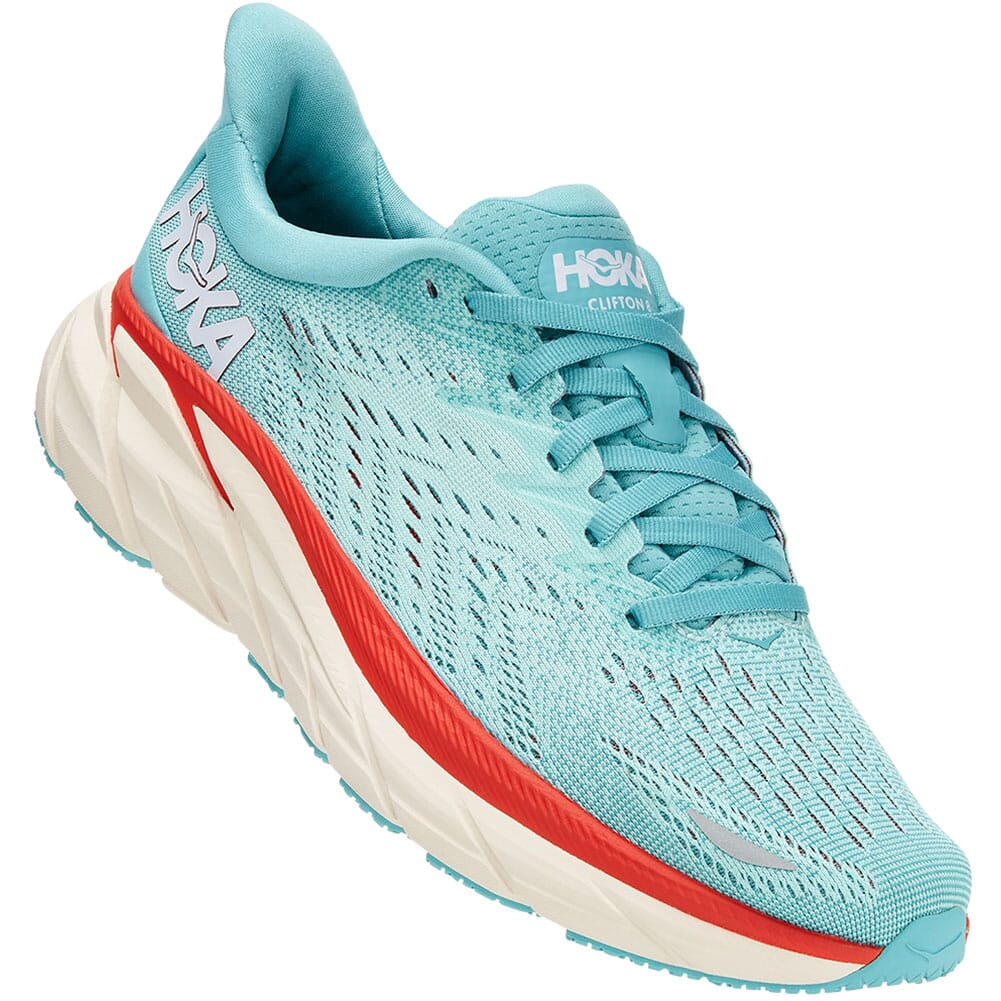 Image for Hoka One One Women's Clifton 8 Wide Athletic Shoes - Eggs from bootbay