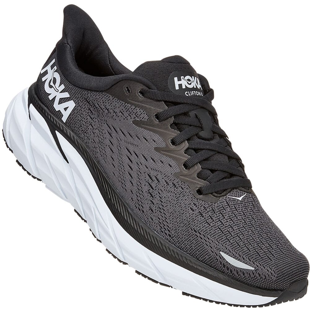 Image for Hoka One One Women's Clifton 8 Wide Athletic Shoes - Black/White from bootbay