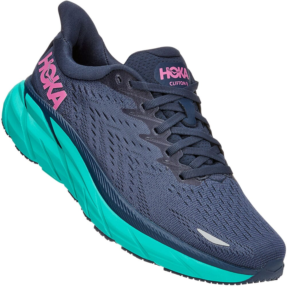 Image for Hoka One One Women's Clifton 8 Wide Athletic Shoes - Outer Space from bootbay