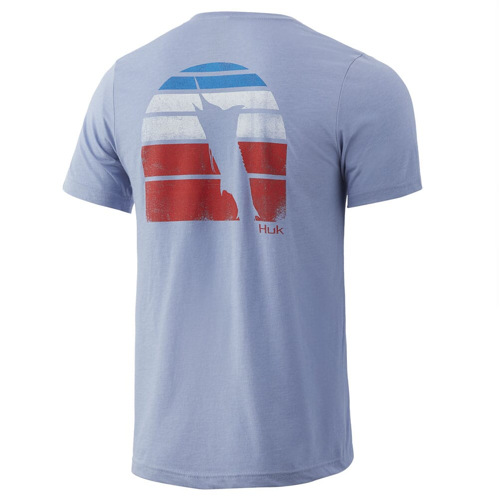 Image for HUK Men's Americana Vintage Sunset Tee - Dusk Blue Heather (Instore Only) from bootbay