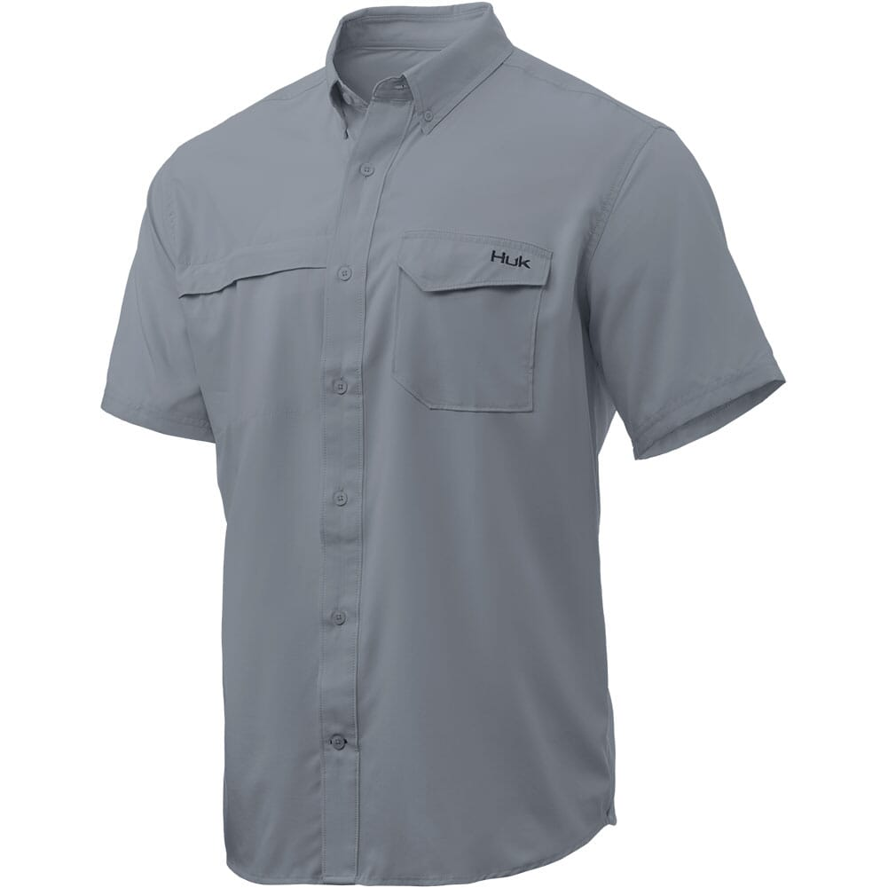 Image for HUK Men's Tide Point Solid Short Sleeve Shirt - Grey (Instore Only) from bootbay
