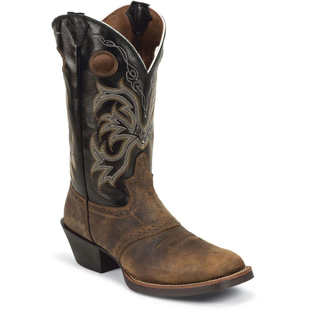 Image for Justin Men's Punchy Buffalo Western Boots - Tan from bootbay