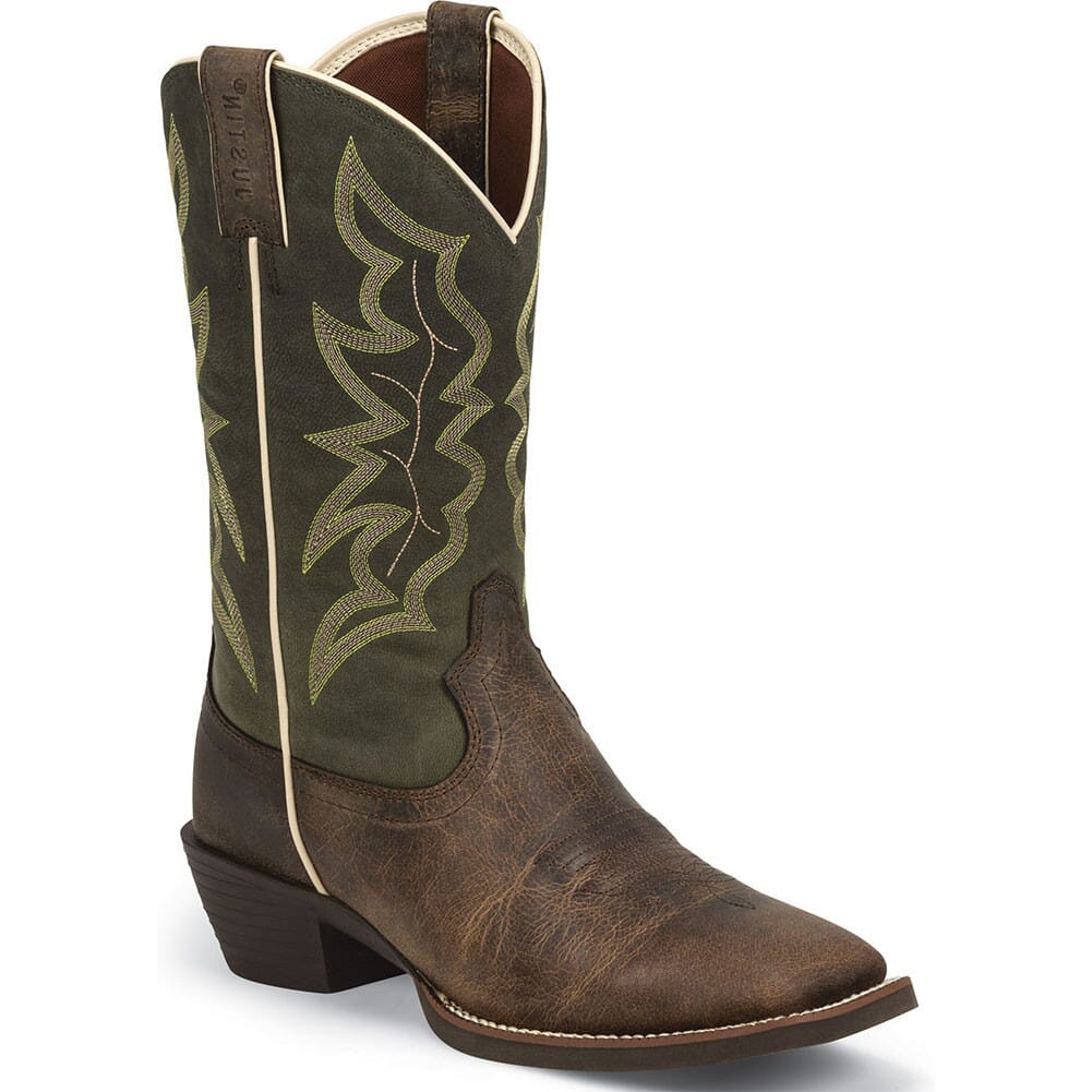 Image for Justin Men's Stampede Western Boots - Green/Waxy Brown from bootbay