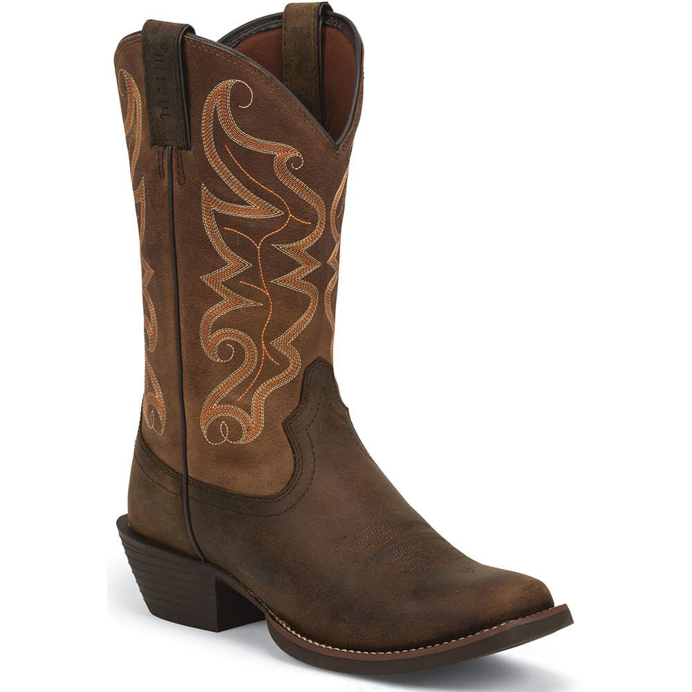 Image for Justin Men's Stampede Western Boots - Waxy Brown from bootbay