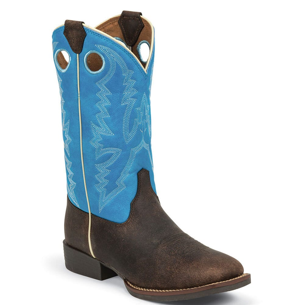 Image for Justin Kid's Andrew Western Boots - Blue/Chocolate from bootbay