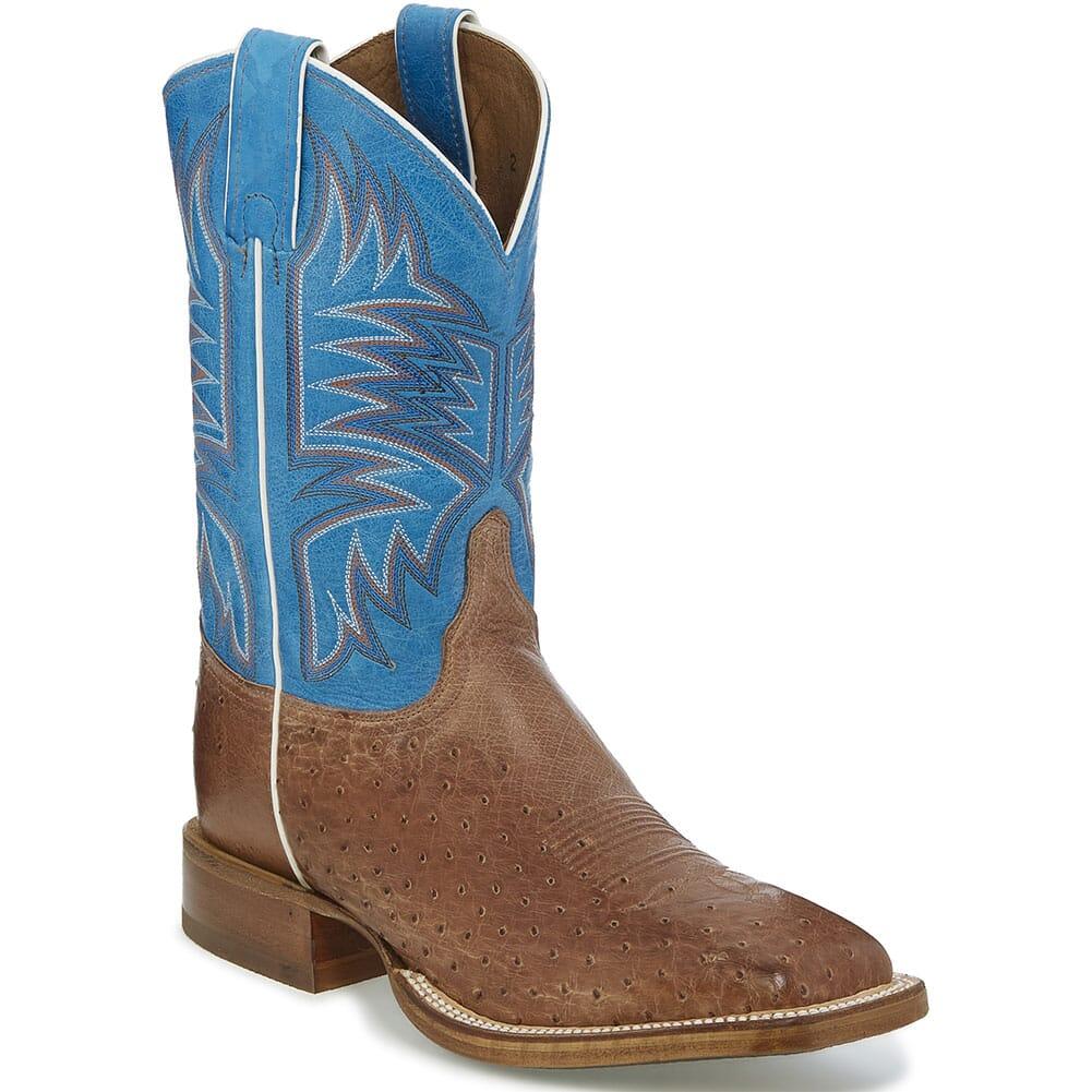 Image for Justin Men's Josiah Western Boots - Aqua Blue/Vintage Dark Brown from bootbay