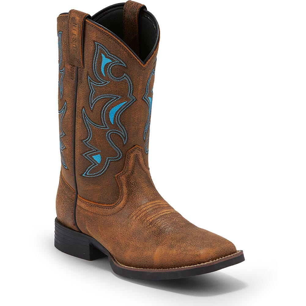 Image for Justin Men's Chet Western Boots - Sky Blue/Tan from bootbay