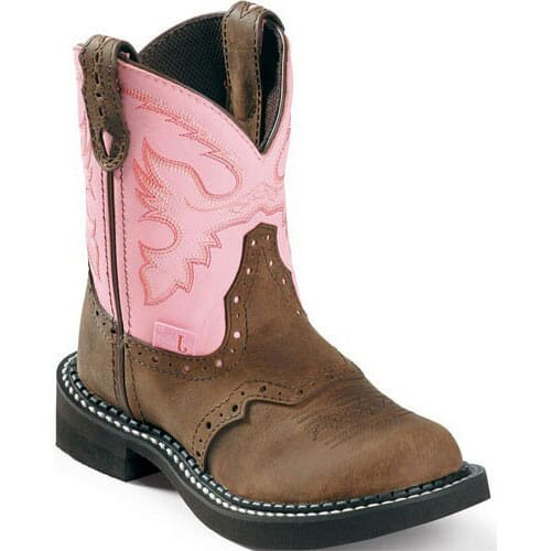 Image for Justin Youth Cow Western Boots - Pink from bootbay