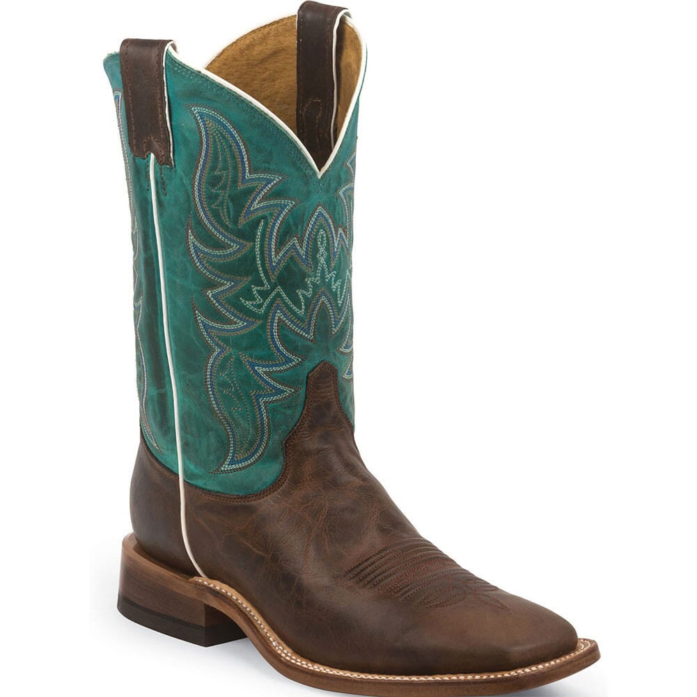 Image for Justin Men's Bent Rail Western Boots - Turquoise/Wood Brown from bootbay