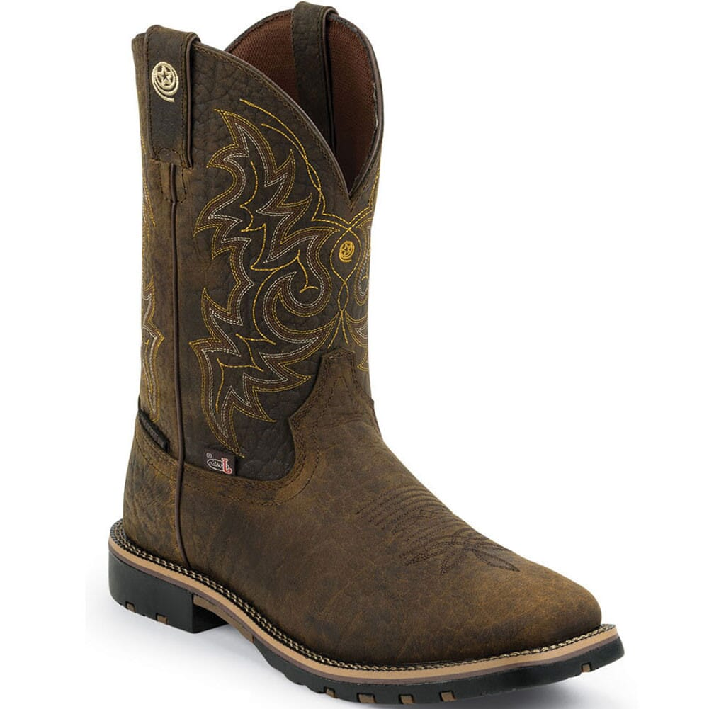 Image for Justin Men's George Strait Western Boots - Weathered Bark from bootbay