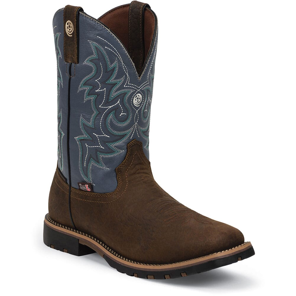 Image for Justin Men's Fireman Western Boots - Blue/Brown from bootbay