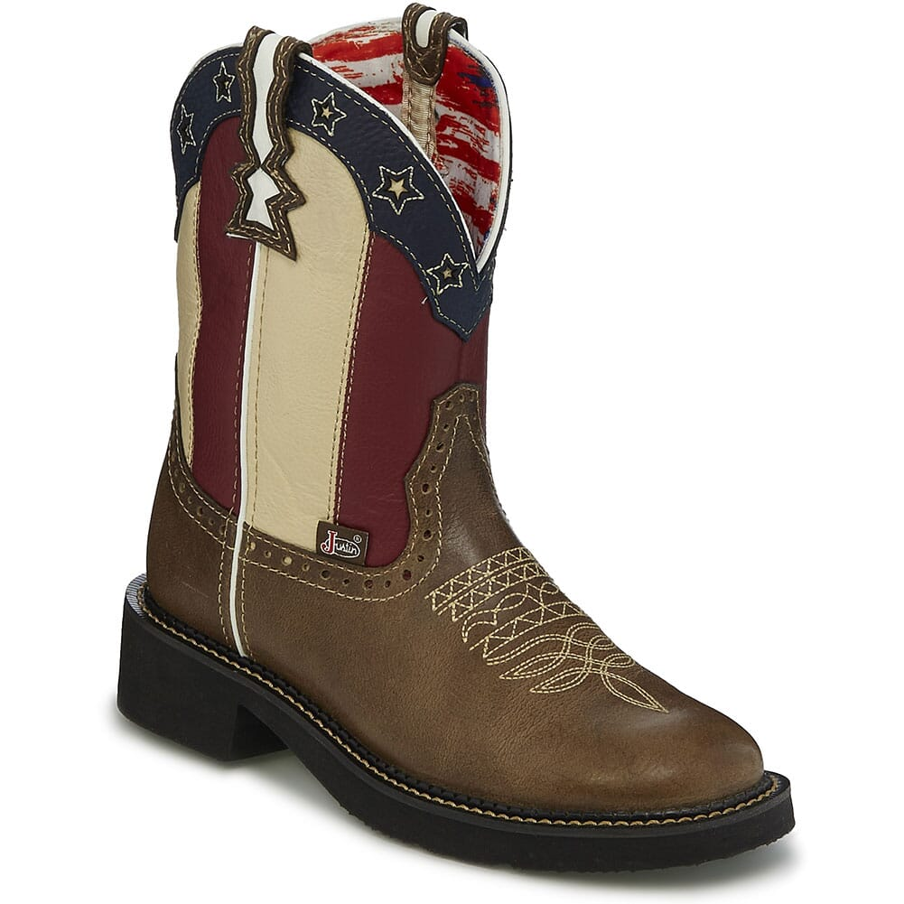 Image for Justin Women's Chellie Stars and Stripes Western Boots -  Brown from elliottsboots
