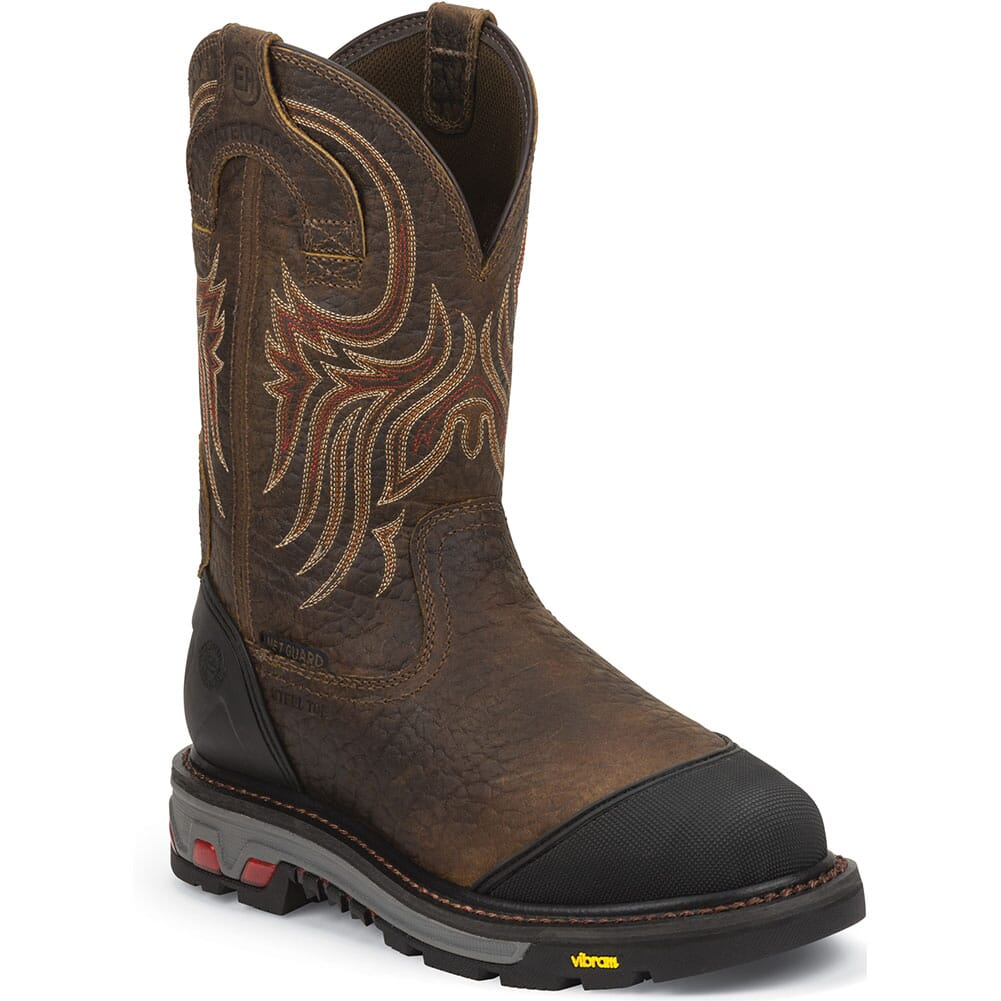 Image for Justin Original Men's Borehole WP Met Safety Boots - Mahogany from bootbay
