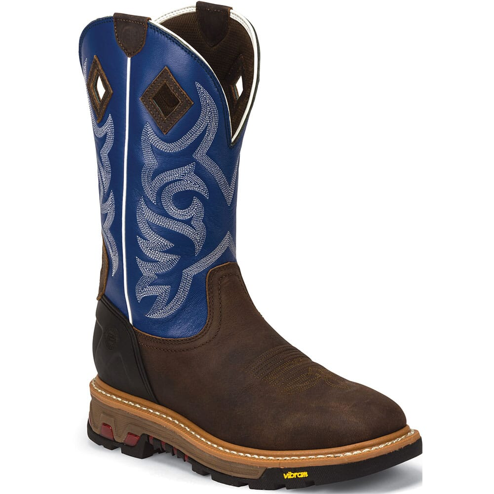 Image for Justin Original Men's Roughneck Work Boots - Blue/Brown from bootbay