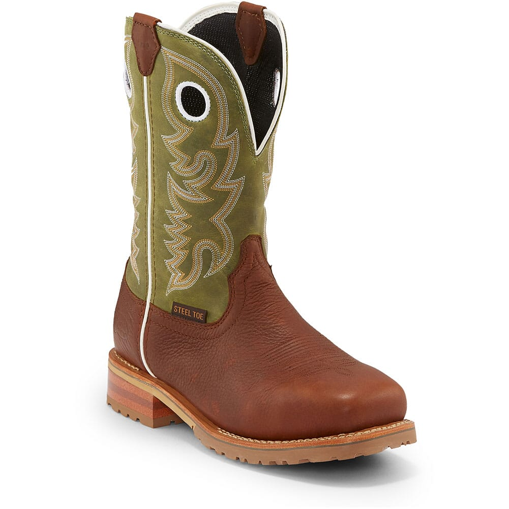 Image for Justin Original Men's Marshal Safety Boots - Agave Green/Whiskey from bootbay