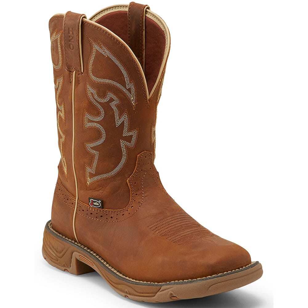 Image for Justin Original Men's Stampede Rush WP Work Boots - Rustic Tan from bootbay