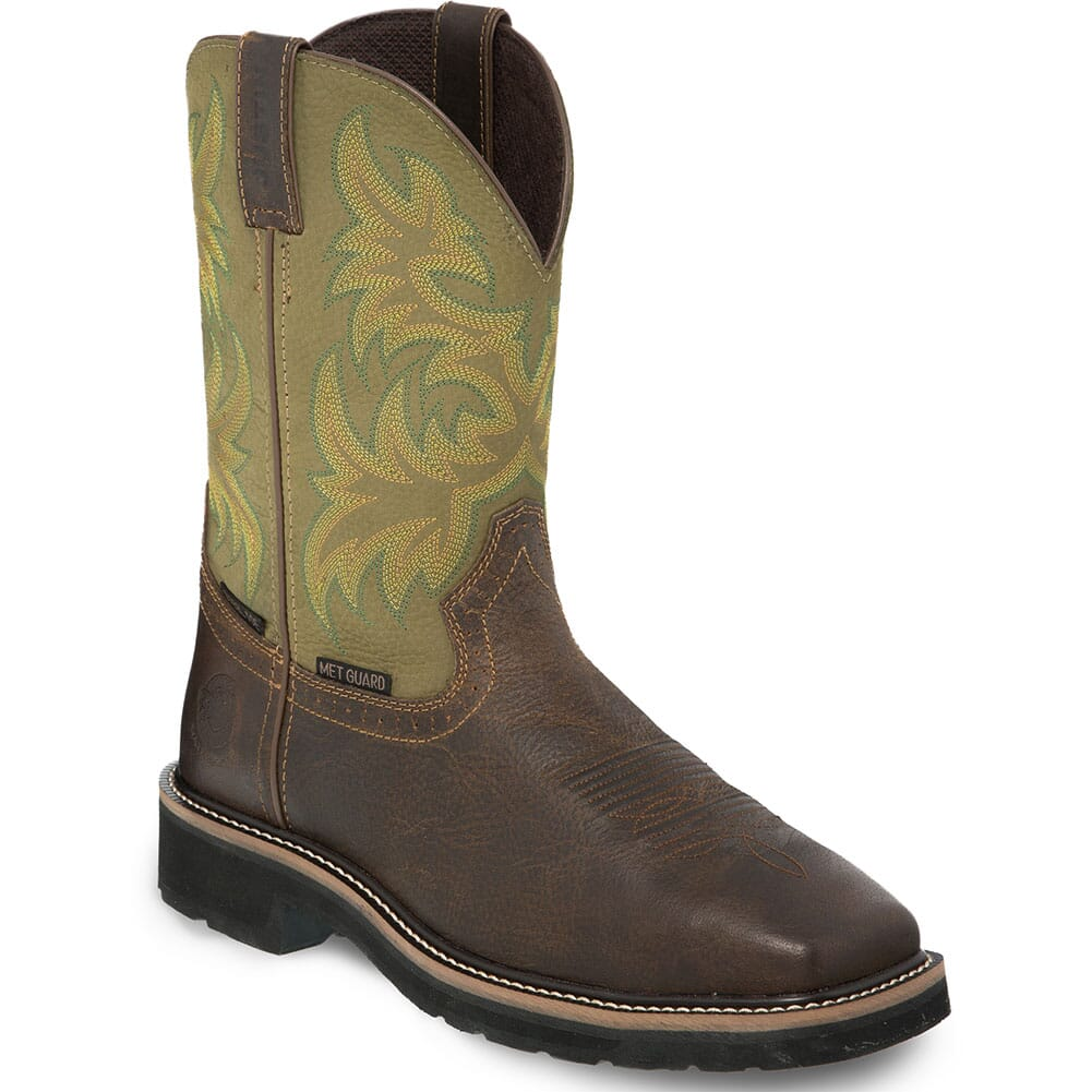 Image for Justin Original Men's Keavan WP Safety Boots - Moss Green/Brown from bootbay