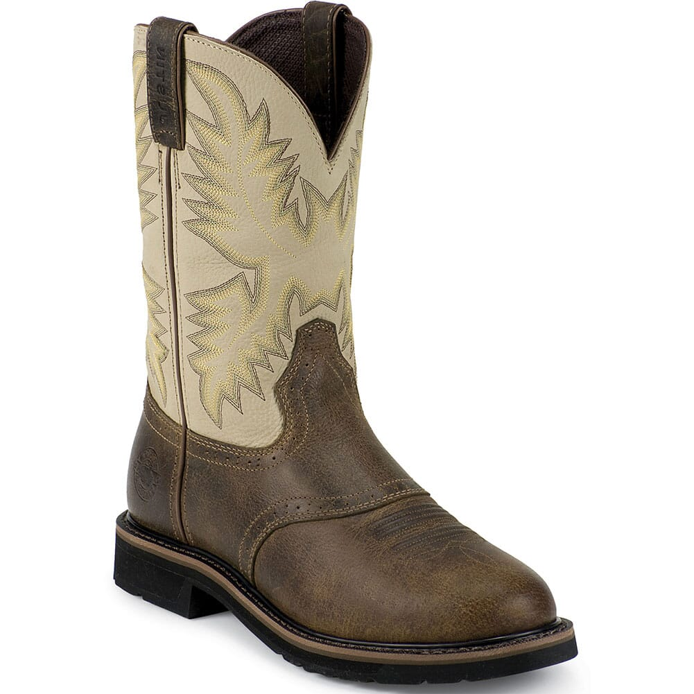 Image for Justin Original Men's Superintendent Work Boots - Creme/Waxy Brown from bootbay