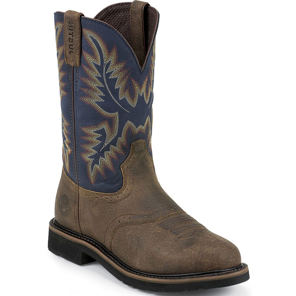 Image for Justin Original Men's Superintendent Work Boots - Blue/Brown from bootbay