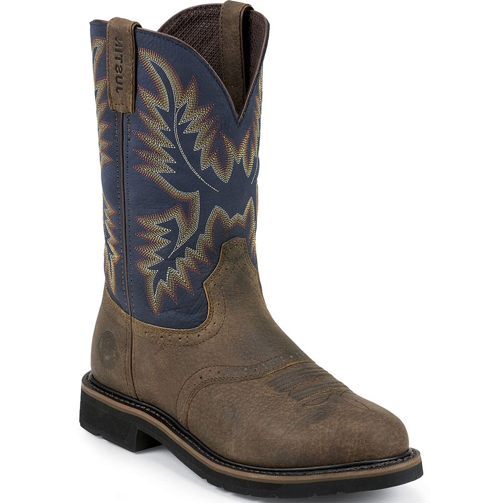 Image for Justin Original Men's Superintendent Safety Boots - Blue/Brown from bootbay