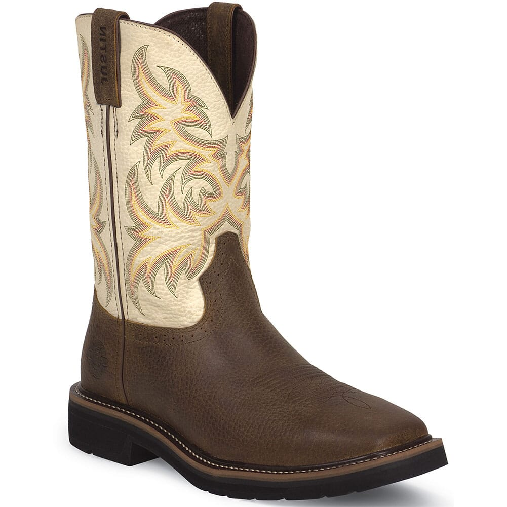 Image for Justin Original Men's Square Toe Work Boots - Copper from bootbay