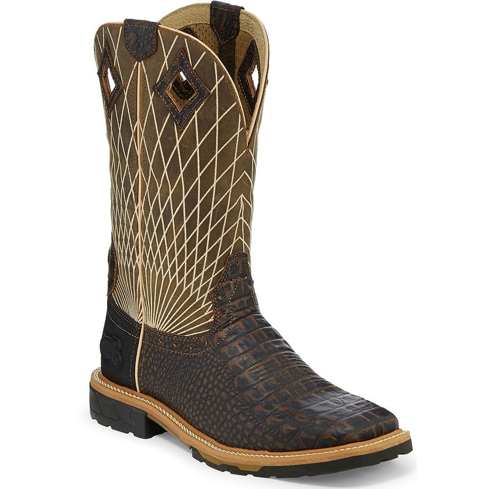 Image for Justin Original Men's Derrickman Work Boots - Moss/Chocolate from bootbay