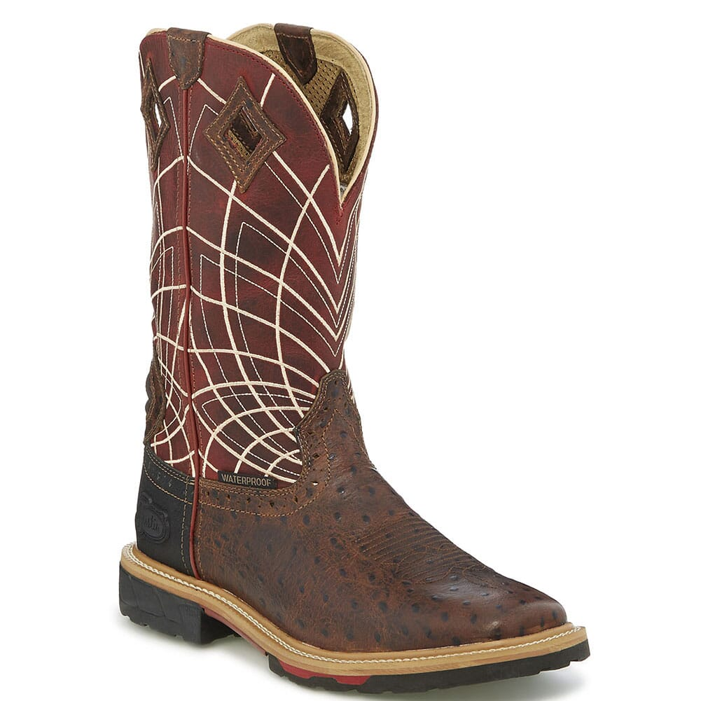 Image for Justin Original Men's Derrickman Work Boots - Burgundy/Rust from bootbay