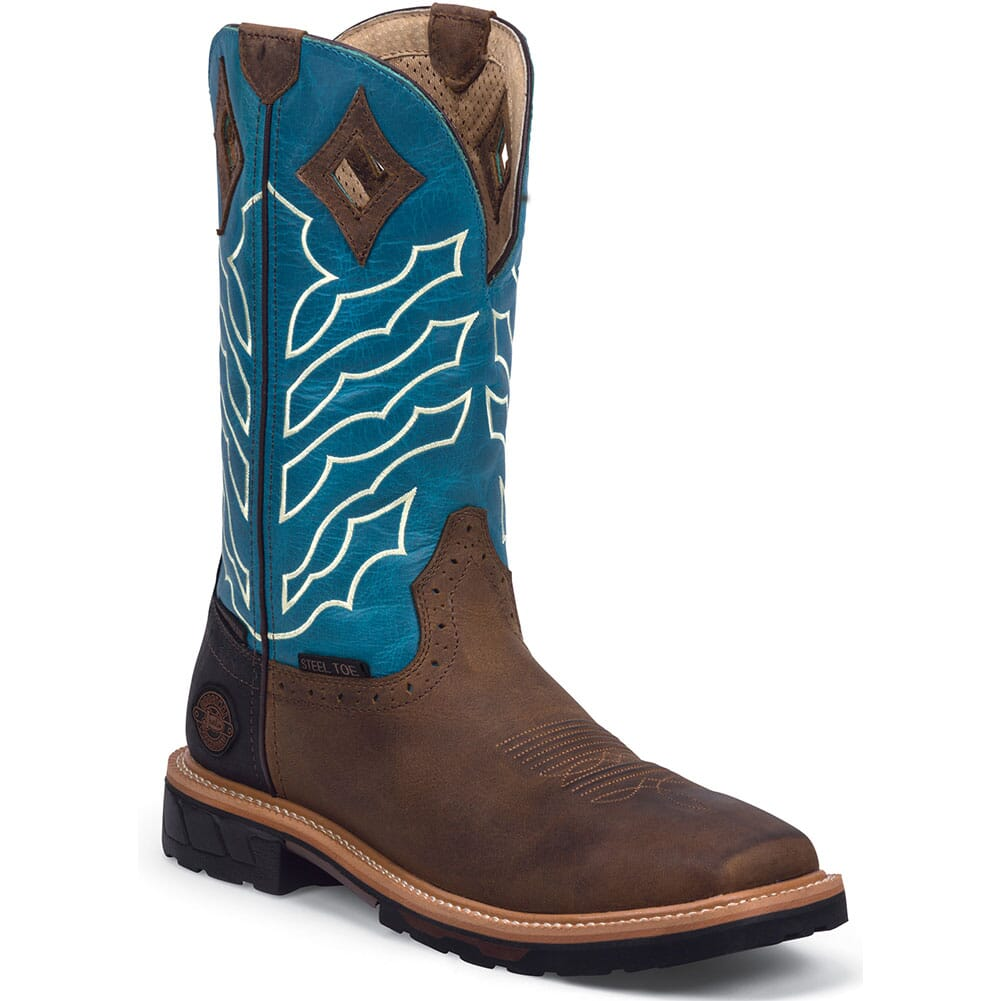 Image for Justin Original Men's Derrickman Safety Boots - Brown/Turquoise from bootbay