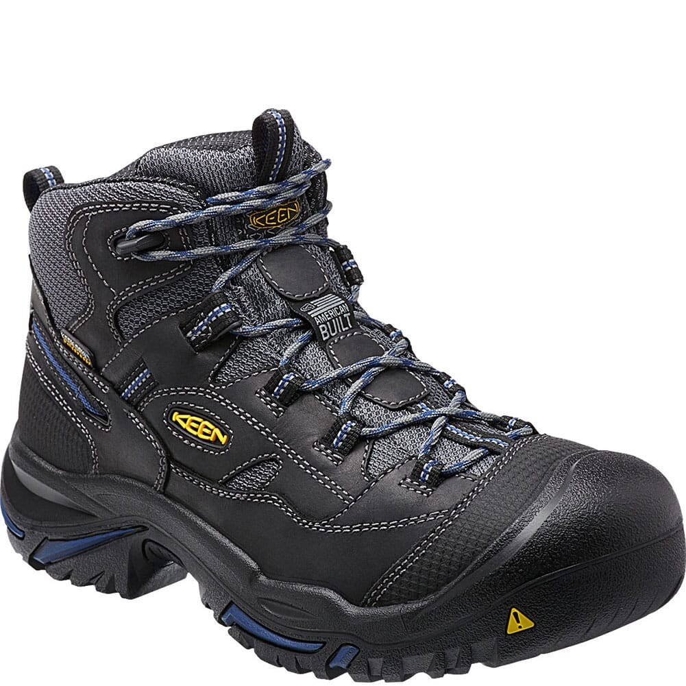 Image for KEEN Utility Men's Braddock Mid Work Boots - Raven/Estate Blue from bootbay