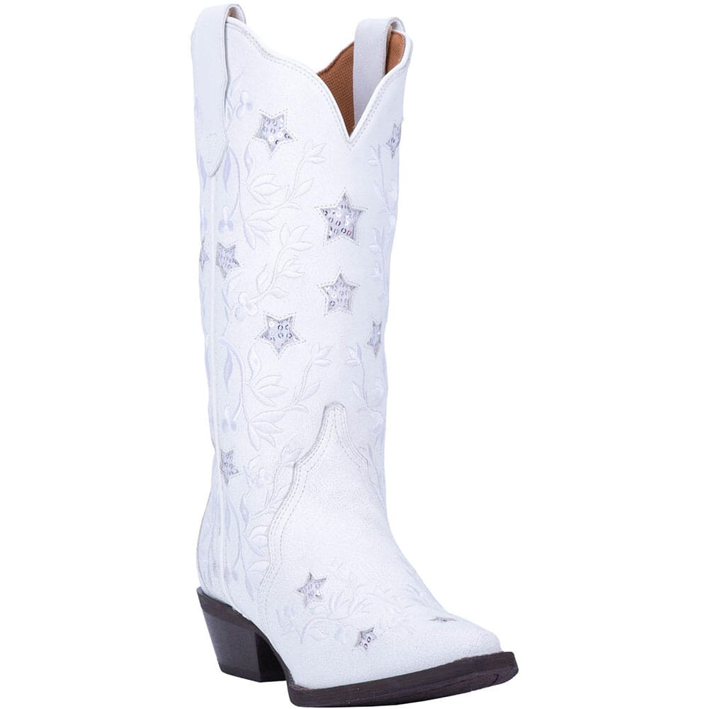 Image for Laredo Women's Lucky Star Western Boots - White from elliottsboots