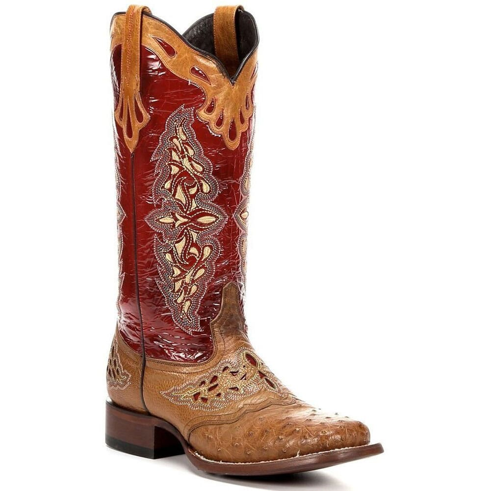 Image for Lucchese Women's Amberlyn Western Boots - Tan/Cadmio Red from elliottsboots