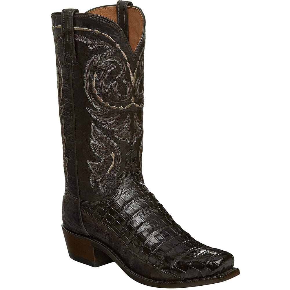 Image for Lucchese Men's Douglas Ostrich Western Boots - Dark Brown from bootbay