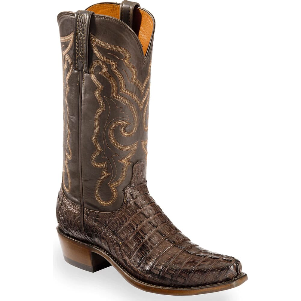 Image for Lucchese Men's Hornback Caiman Western Boots - Brown from bootbay