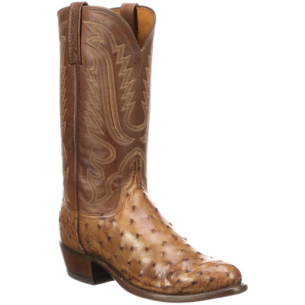 Image for Lucchese Men's Luke Ostrich Western Boots - Tan from bootbay