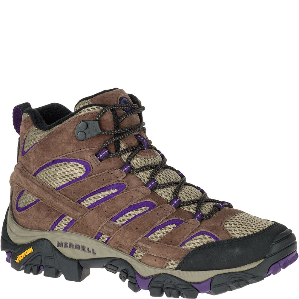 Image for Merrell Women's Moab 2 Mid Ventilator Wide WHiking Boots - Bracken/Purpl from elliottsboots