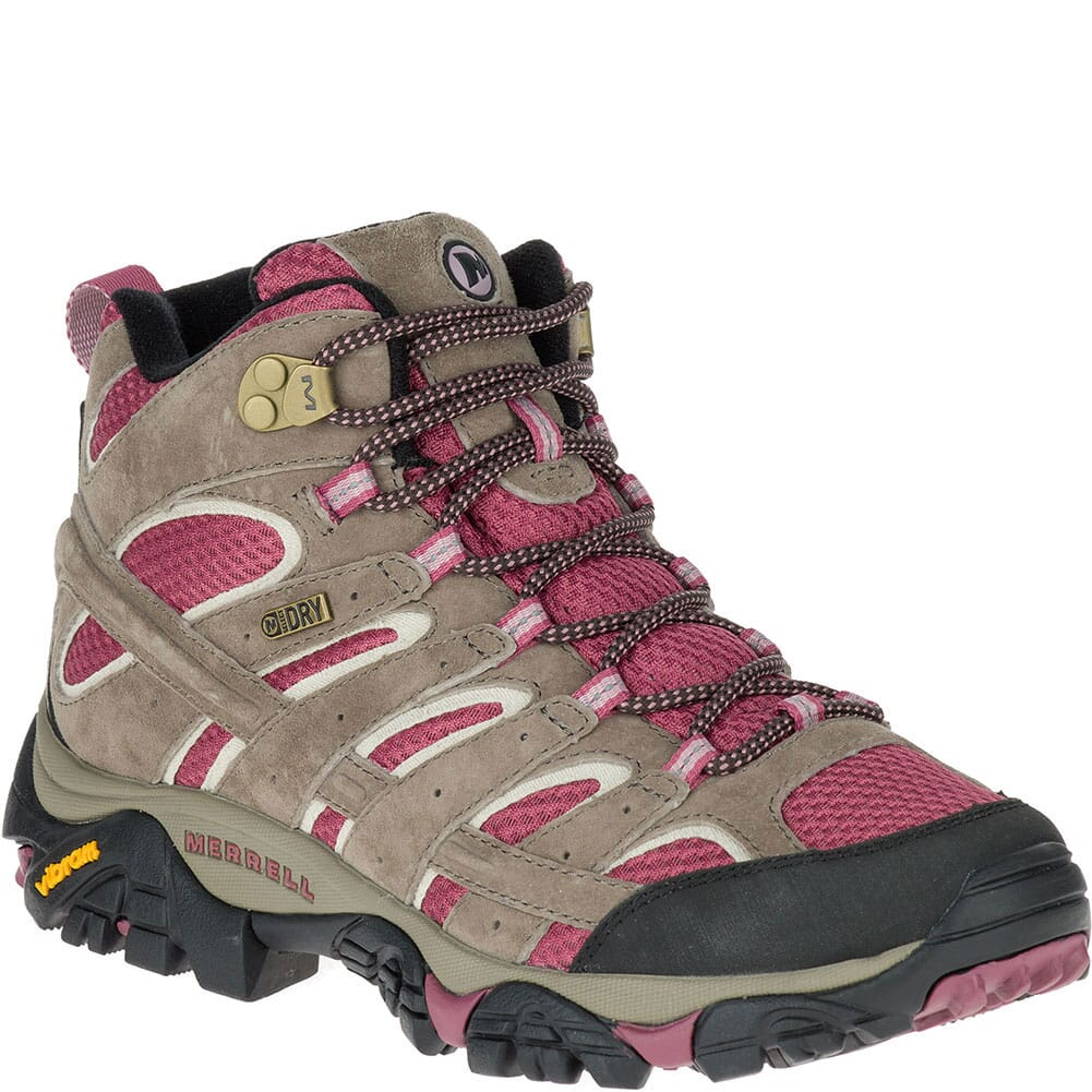 Image for Merrell Women's Moab 2 Mid WP Hiking Boots - Boulder/Blush from elliottsboots
