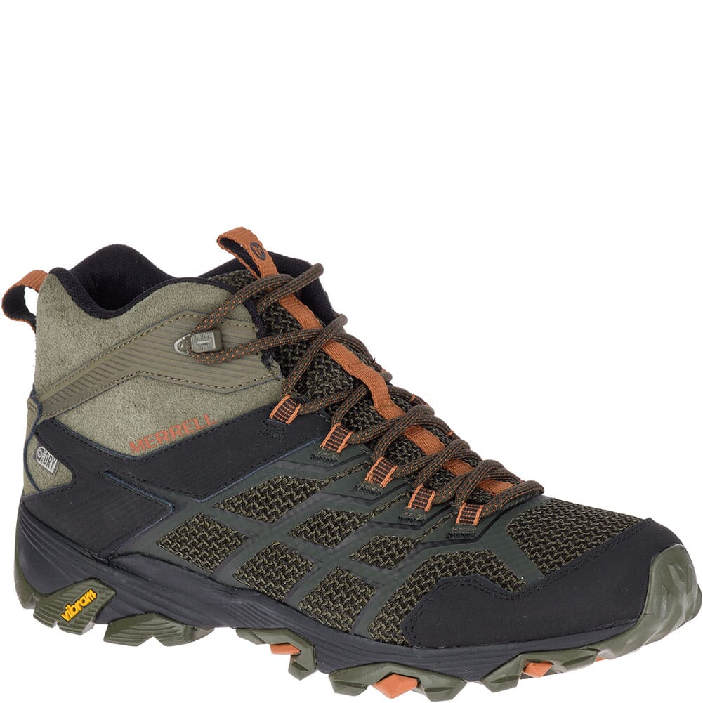 Image for Merrell Men's Moab FST 2 Mid WP Hiking Boots - Olive/Adobe from bootbay