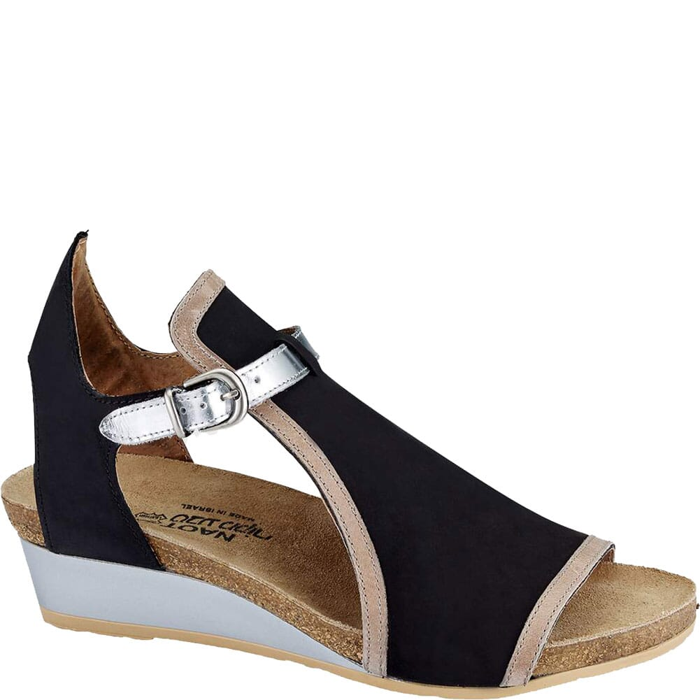 Image for Naot Women's Fiona Sandals - Black Velvet/Khaki Beige/Silver from bootbay
