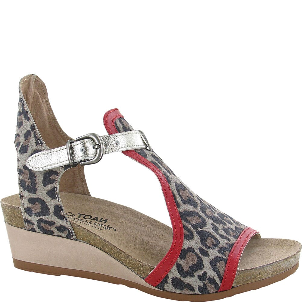 Image for Naot Women's Fiona Sandals - Cheetah/Kiss Red/Radiant Gold from bootbay