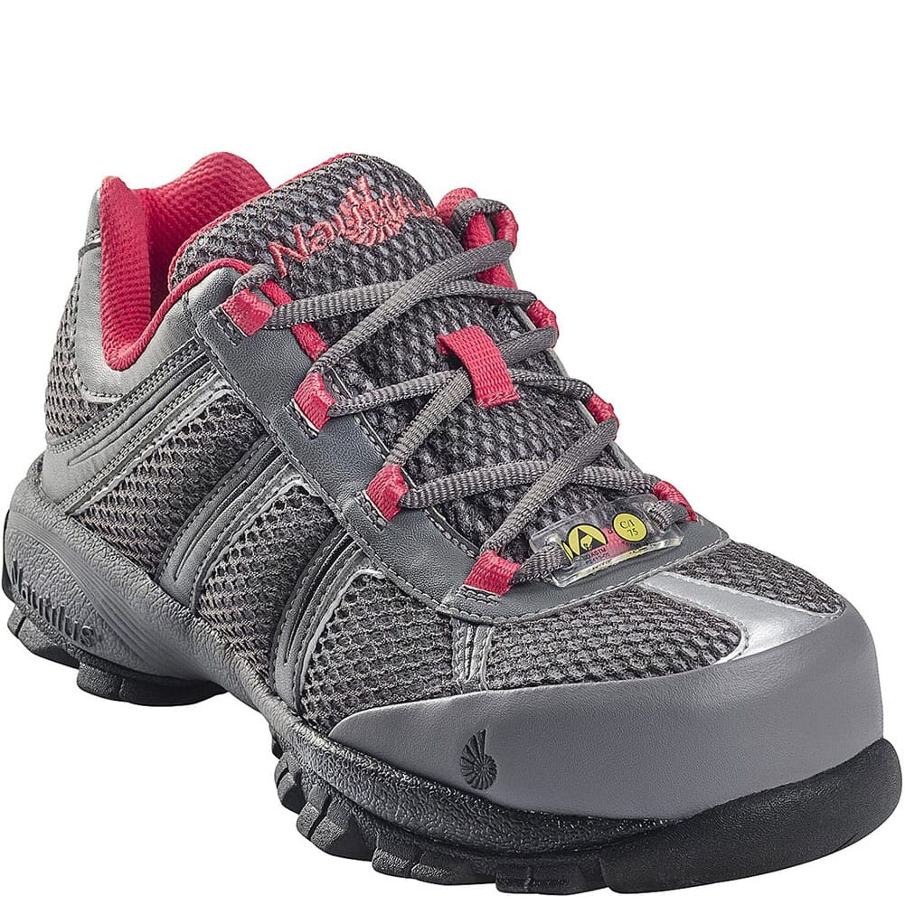 Image for Nautilus Women's Steel Toe Safety Shoes - Grey/Pink from elliottsboots