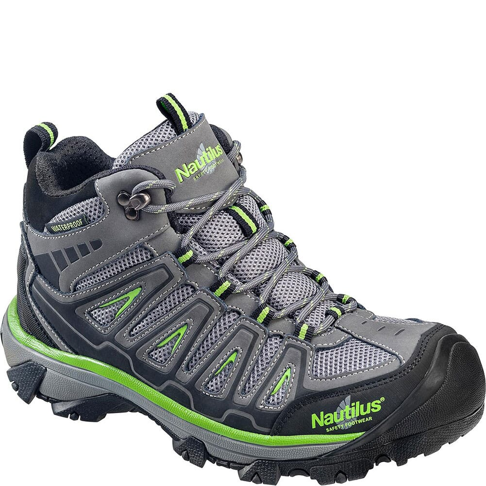 Image for Nautilus Men's Waterproof Safety Shoes - Grey/Lime from bootbay