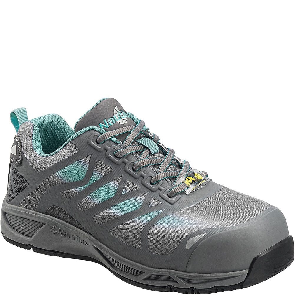 Image for Nautilus Women's Slip Resistant Work Shoes - Grey/Aqua from bootbay