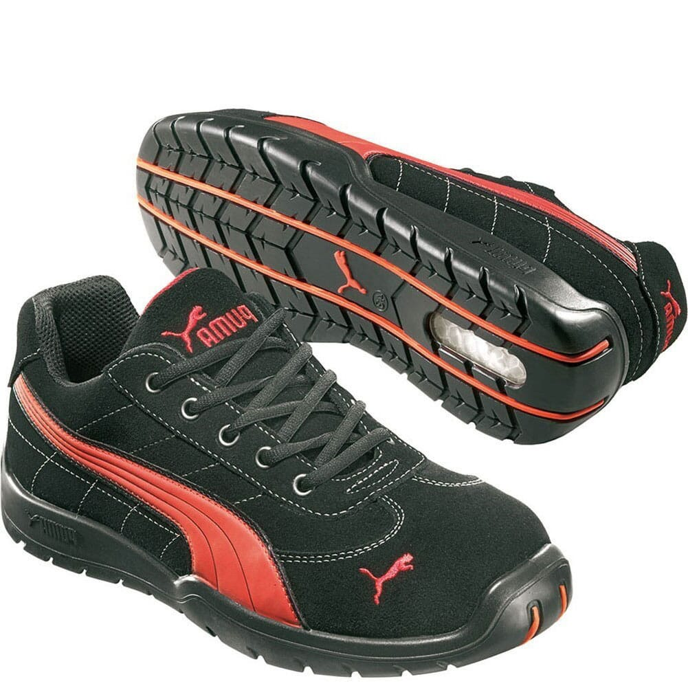 Image for Puma Men's Silverstone Low Safety Shoes - Black/Red from bootbay