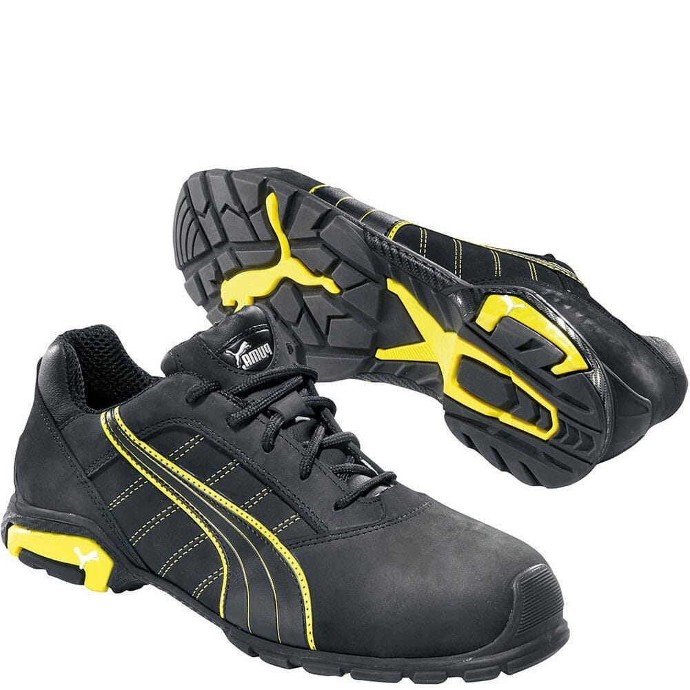 Image for Puma Men's Amsterdam Low Safety Shoes - Black/Yellow from bootbay