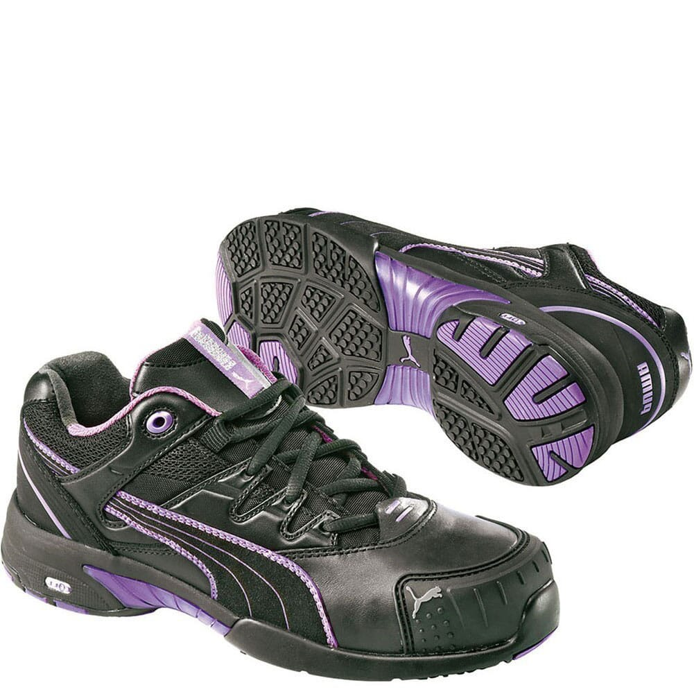 Image for Puma Women's Stepper Low Safety Shoes - Black/Pink from bootbay