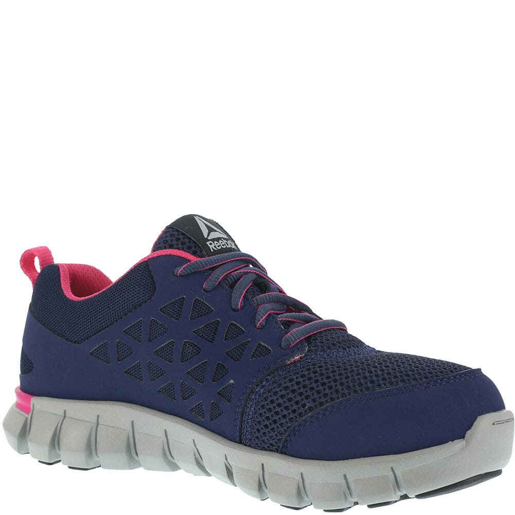 Image for Reebok Women's Sublite Safety Shoes - Navy/Pink from elliottsboots