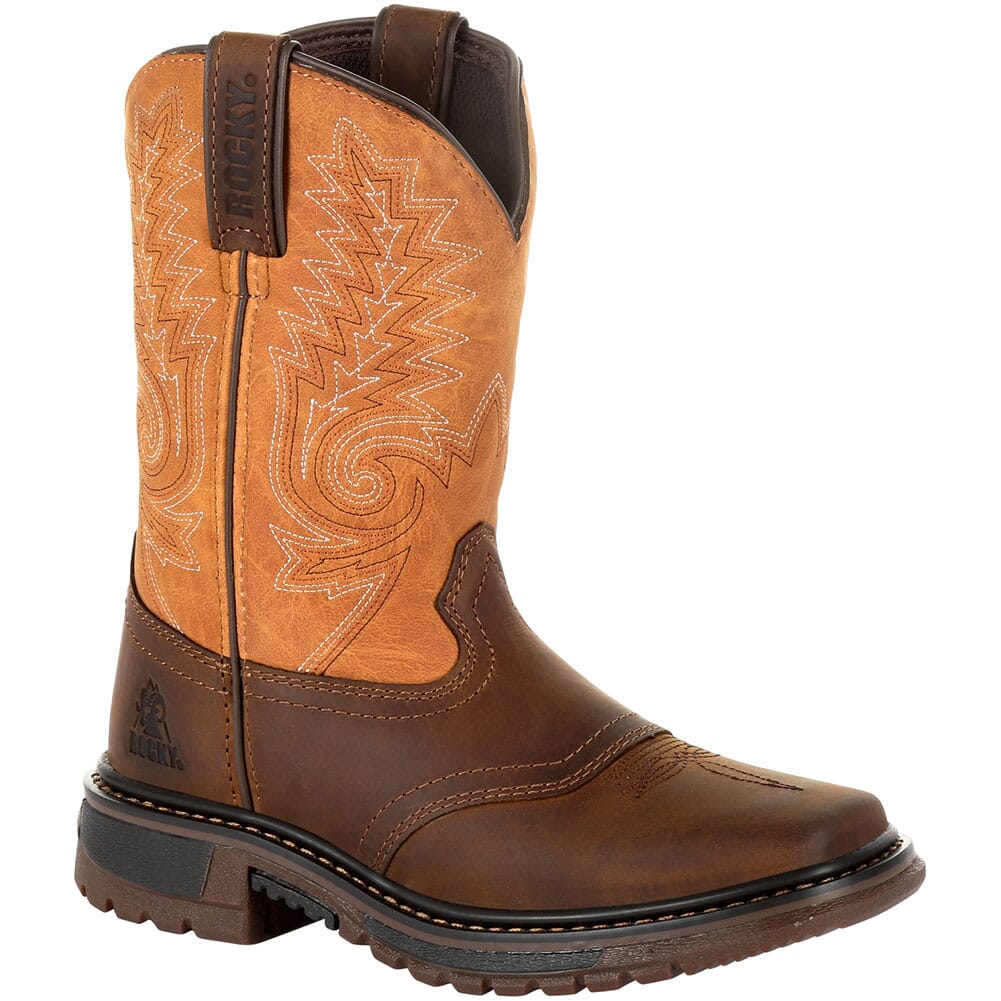 Image for Rocky Big Kid's Ride FLX Western Boots - Brown/Orange from bootbay