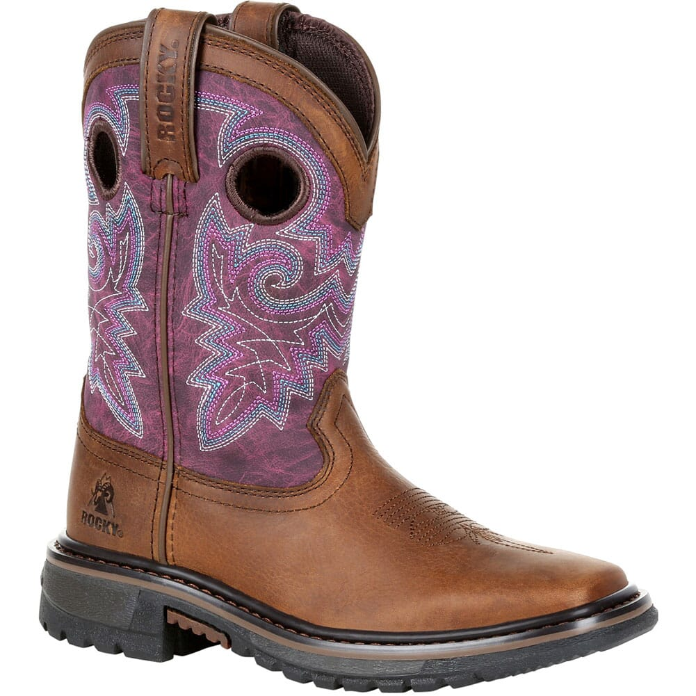 Image for Rocky Big Kid's Original Ride FLX Western Boots - Purple/Brown from bootbay
